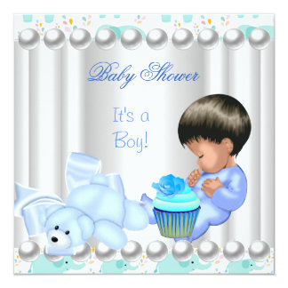 Cute Baby Shower Boy Blue cupcake Card