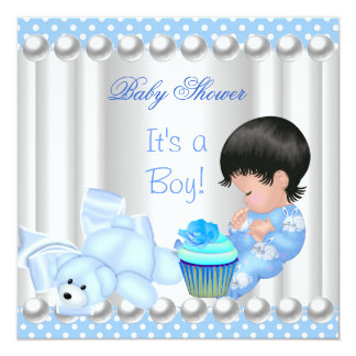 Cute Baby Shower Boy Blue cupcake Spots Card
