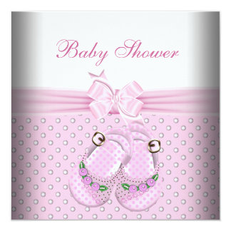 "Cute Baby Shower Girl Baby Pink Booties Pearl 5.25"" Square Invitation Card"