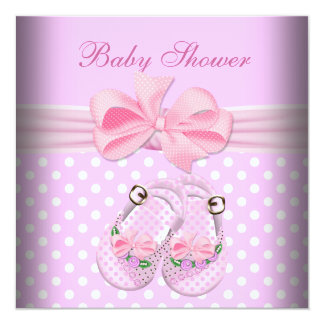Cute Baby Shower Girl Baby Pink Booties Shoes 13 Cm X 13 Cm Square Invitation Card