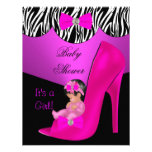 Cute Baby Shower Girl Hot Pink Baby Shoe black Announcements