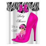 Cute Baby Shower Girl Hot Pink Baby Shoe Personalized Announcements