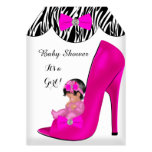Cute Baby Shower Girl Hot Pink Baby Shoe T Invite