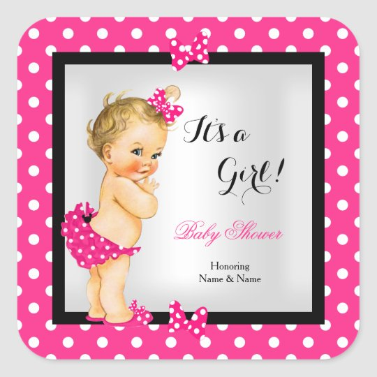 Cute Baby Shower Girl Hot Pink Black Blonde