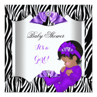 Cute Baby Shower Girl Hot Purple Baby Zebra AM 13 Cm X 13 Cm Square Invitation Card