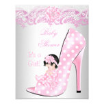 Cute Baby Shower Girl Pink Baby Shoe Lace 11 Cm X 14 Cm Invitation Card