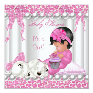 Cute Baby Shower Girl Pink Leopard cupcake Card