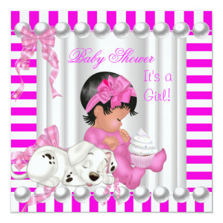 Cute Baby Shower Girl Pink Stripe cupcake Card