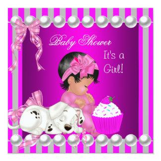 Cute Baby Shower Girl Pink Stripe cupcake Card