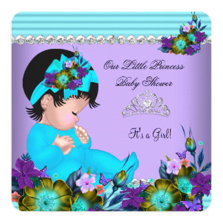 Cute Baby Shower Girl Teal Blue Purple 13 Cm X 13 Cm Square Invitation Card