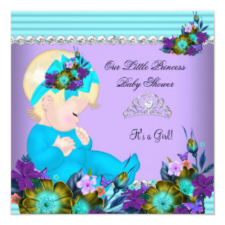 Cute Baby Shower Girl Teal Blue Purple Blonde 13 Cm X 13 Cm Square Invitation Card