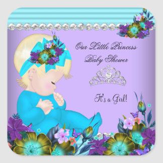 Cute Baby Shower Girl Teal Blue Purple Blonde Square Sticker