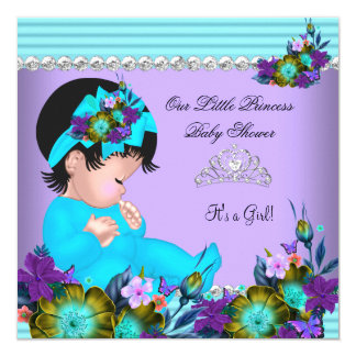 Cute Baby Shower Girl Teal Blue Purple 5.25x5.25 Square Paper Invitation Card