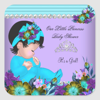 Cute Baby Shower Girl Teal Blue Purple Square Sticker