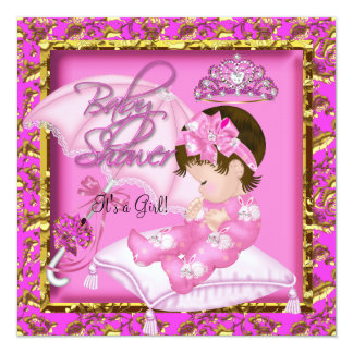 Cute Baby Shower Pink Gold 13 Cm X 13 Cm Square Invitation Card