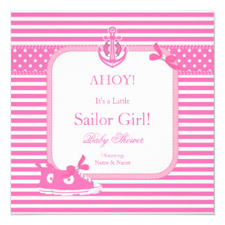 Cute Baby Shower Sailor Girl Pink White Stripe 13 Cm X 13 Cm Square Invitation Card