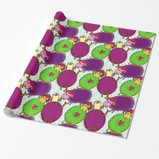 Cute baby sleeping sheep doddles, birthday gift wrapping paper