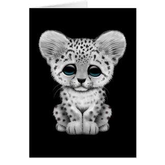 Cute Baby Snow Leopard Cub on Black Card