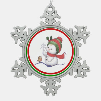 Cute Baby Snowman Red & Green Hat with Little Bird Pewter Snowflake Decoration