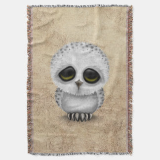 Cute Baby Snowy Owl Chic on Aged Texture Throw Blanket