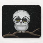 Cute Baby Snowy Owl Wearing Glasses with Stars Mouse Pads