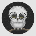 Cute Baby Snowy Owl Wearing Glasses with Stars Round Sticker