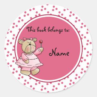 Cute baby teddy baer bookplate round sticker