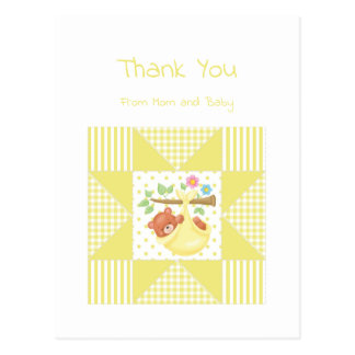 Cute Baby Thank You Yellow Bear Quilt Pattern Postcard