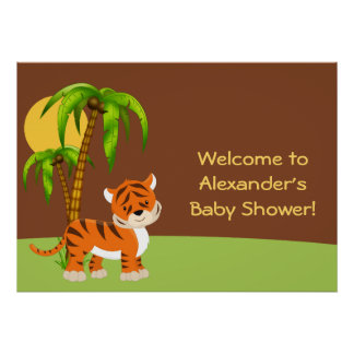 Cute Baby Tiger Baby Shower Poster