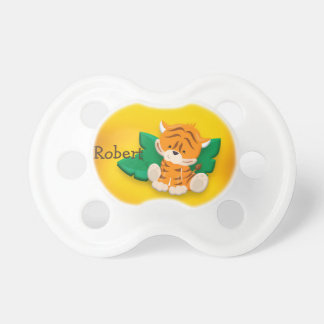 Cute Baby Tiger Brown Yellow Personalized Dummy