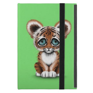 Cute Baby Tiger Cub with Blue Eyes on Green Case For iPad Mini