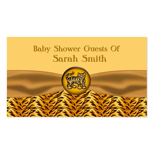 Cute Baby Tiger Stripes Baby Shower Business Card Template