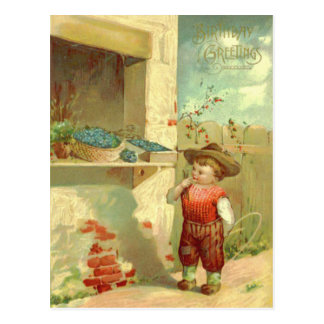 Cute Baby Toddler Window Forget-Me-Not Postcard
