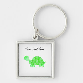 Cute Baby turtle in light green Silver-Colored Square Key Ring