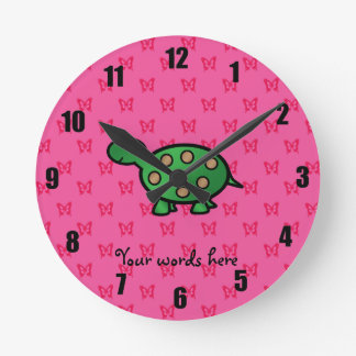 Cute baby turtle round clock