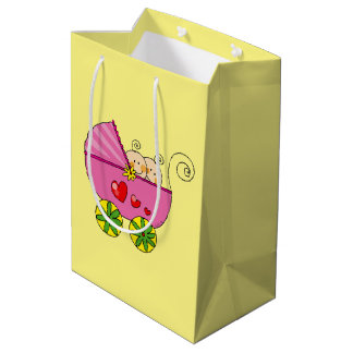 cute baby twin girls pink pram baby shower medium gift bag