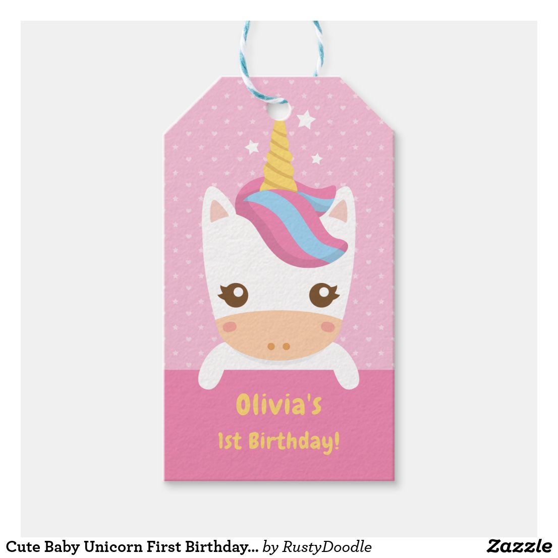 Cute Baby Unicorn First Birthday Party Gift Tags
