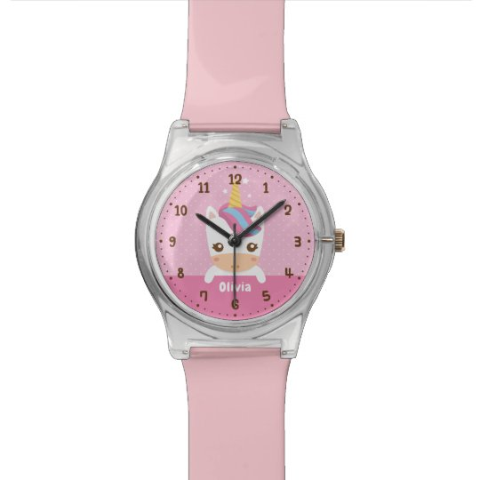 Cute Baby Unicorn Girls Kids Personalised Watch