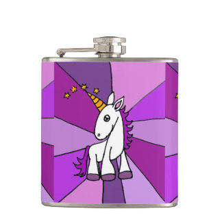 Cute Baby Unicorn with Purple Mane Hip Flask
