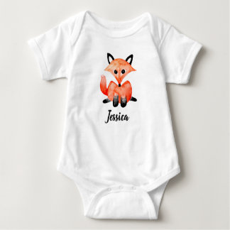 Cute Baby Watercolor Woodland Wildlife Fox & Name Baby Bodysuit