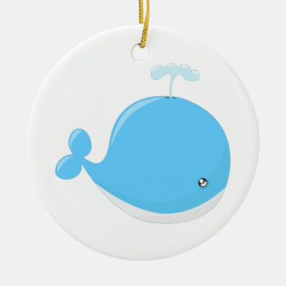 Cute baby whale kawaii cartoon kids christmas ornament