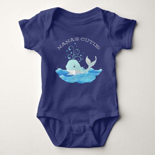 Cute Baby Whale Nanas Cutie Ocean Wave Swirl