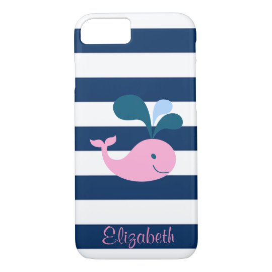 Cute Baby Whale, Navy Blue Stripes-Personalised iPhone 8/7