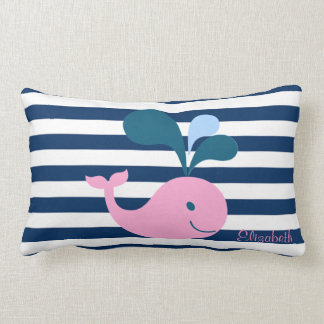 Cute Baby Whale, Navy Blue Stripes-Personalized Lumbar Cushion
