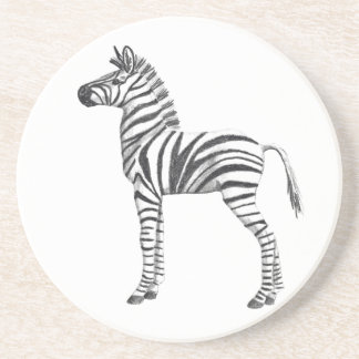 Cute Baby Zebra Drawing Drink Coaster