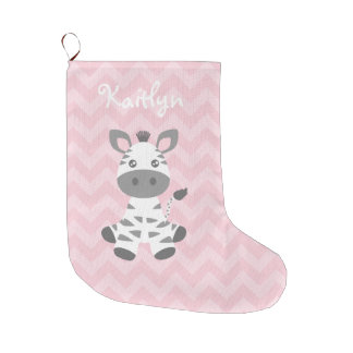 Cute Baby Zebra Large Christmas Stocking
