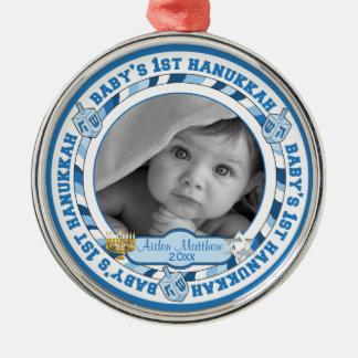 Cute Baby's 1st Hanukkah Dreidels Photo Name Christmas Ornament