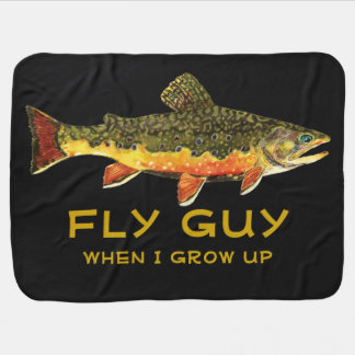 Cute Baby's Brook Trout FLY GUY Fly Fishing Baby Blanket