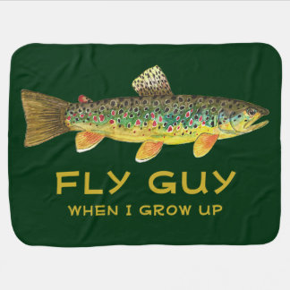 Cute Baby's Brown Trout FLY GUY Fly Fishing Baby Blanket