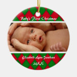 CUTE Baby's first christmas photo Christmas Ornament
